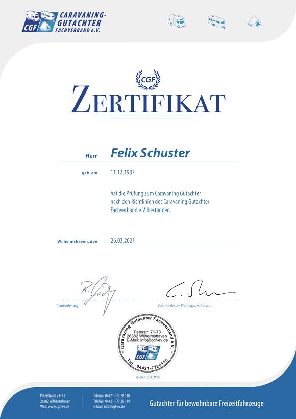 Sachverständigenbüro Schnur Zertifikat Caravaning Gutachter