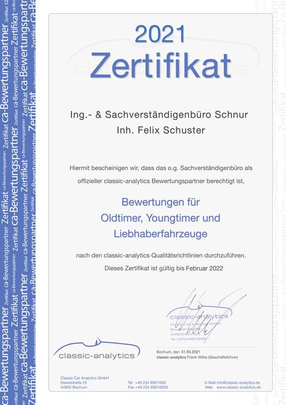 Sachverständigenbüro Schnur Zertifikat Classic Analytics - 2021